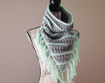 Crochet fringe scarf, infinity triangle scarf, fringe scarf, crochet fringe