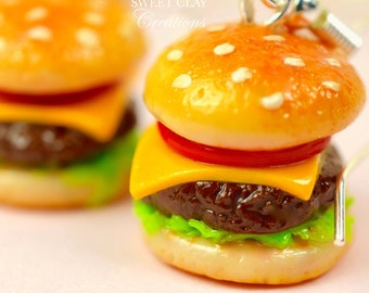 Cheeseburger Earrings Miniature Food Jewelry Polymer Clay Food Handmade Gift Girl Sterling Silver