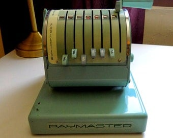 Check Writer, 1950s, Paymaster, X550,  Payrole, Teal, Blue, Working, With Key, 50s, 50s Business, Vintage Supplies, Vintage Business