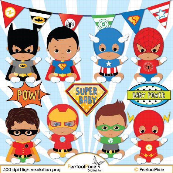 African American Superhero baby boy clipart Super baby Baby