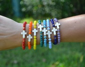 "The ""Amazing Grace"" Stack - beaded stretch bracelets with cross accent beads"
