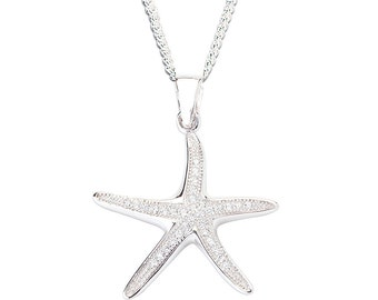 Sterling Silver & Cubic Zirconia Starfish Necklace - Pendant and Chain