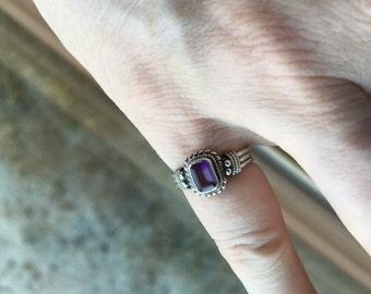Silver Amethyst Ring -- 303