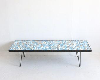 Blue & Orange Mosaic Glass Tile Coffee Table