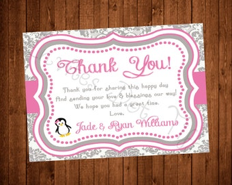 Pink Penguin Thank You Card (Flat or Folded)