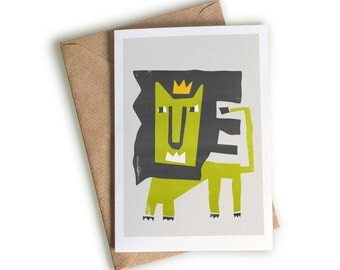 Lion Greeting Card, Mid Century Illustration, Birthday Notecard, King Of The Jungle, Zoo Animal, Golden Crown, Green Art Card, Well Done