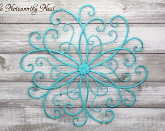 CLEARANCE SALE: Wall Decor // Aqua Decor // Wall Scroll // Accent Piece // Fence Decor // Metal accent Piece // metal Scroll Wall Hanging