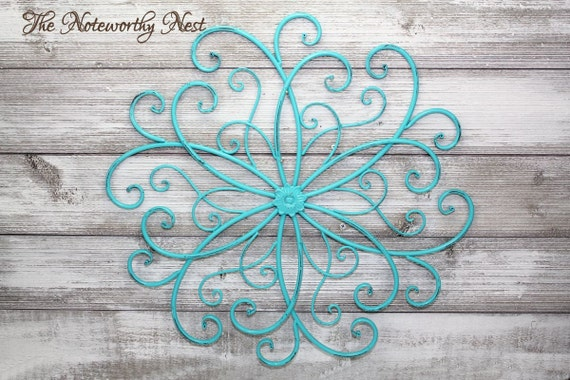 Metal Wall Decor Clearance : Clearance sale wall decor aqua scroll