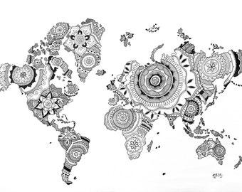 Mandala flower World Map
