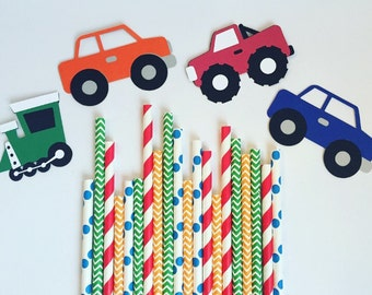 Cars Trucks & Trains Party Straw Pack