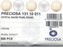 Preciosa 4mm, 5mm, 6mm, 8mm, 10mm and 12mm round pearls with through hole.  Price is for 50 pearls