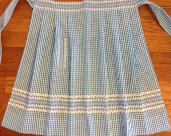 Unused vintage hand embroidered aqua gingham half apron, blue apron, half apron, turquoise apron, handmade, retro, NOS,