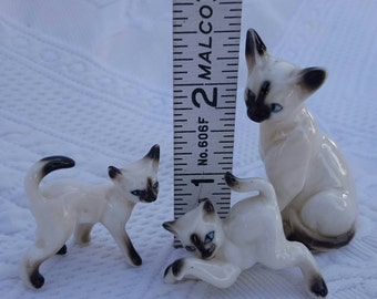 Vintage SIAMESE CATS set of three