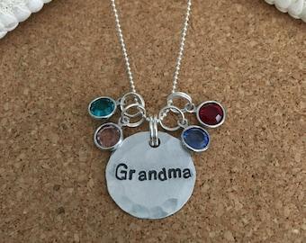 GRANDMA CHARM NECKLACE - Sterling Silver Chain - Hand-Stamped Aluminum Charm + Swarovski Birthstones, Nana, Grammy, Gigi, Mimi, Noni, Memaw