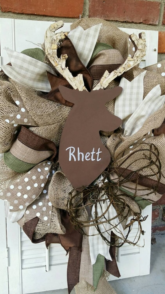 Deer Nursery Decor Burlap Deer Wreath Rustic Nursery Woodland