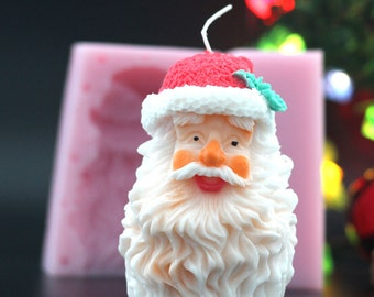 Double Sided 3D Handmade Silicone Candle Molds Santa Silicon Mould for Christmas Day LZ0152