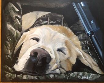 Yellow labrador retriever art, Hunting dog art print from original painting
