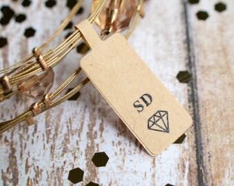 Custom initials diamond brown kraft sticker label price tag