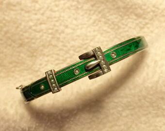Antique Victorian JOSEF ZAUZA 750 Silver, Enamel/Guilloche and Seed Pearl Austro Hungarian Bracelet