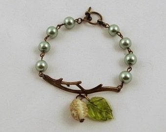 Cute Vintage Summer Romantic Light Green Leaf Perl Bracelet