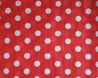 "Ivory Dots on Red Tissue Paper # 231 / Gift Wrap -- 10 Large sheets  ... 20"" x 30"""