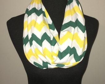Green & Yellow chevron infinity scarf