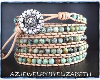 African Turquoise Gemstone Leather Wrap Bracelet, Beaded Leather Wrap.