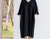 Washed linen KIMONO tunic in deepest black. Oversize linen dress. V neckline linen dress in deepest black.