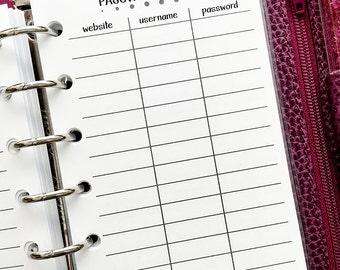 Pocket Password Keeper printed planner inserts - website - username - password information - private