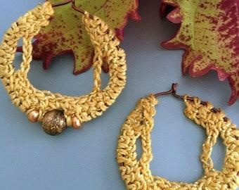 Crochet Gold Metallic Hoop Earrings