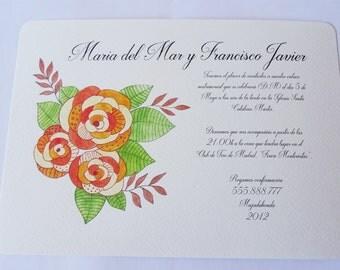 Wedding floral, weddingcard, invitation invitations personalized invitations