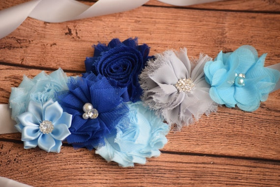 Sash,Blue, navy and grey Sash , flower Belt, maternity sash