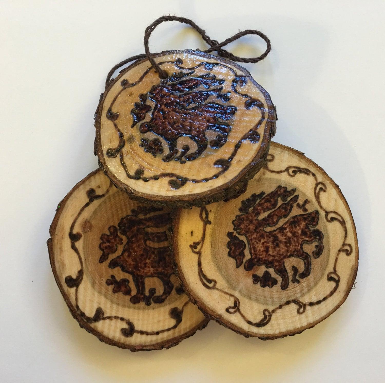 Bunny Christmas Ornament Medieval Hares Tree Slice Pendant