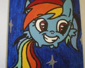 Chibi Rainbow Dash Painting Acrylic on Canvas Board 5x7