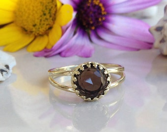 20% off- SALE!!! Smoky Quartz Ring - Brown Ring - Genuine Gemstone Ring - Vintage Style - Round Crown Ring - Promise Ring - Smoky Topaz