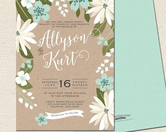 Printed Wedding Invitations Spring Floral Wedding Invites Kraft invitation suite Flowers Rustic Wedding Invitation Printed Wedding Suite