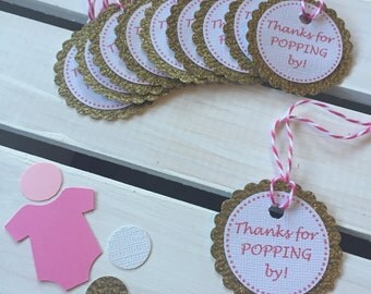 Pink and gold glitter personalized (thanks for popping by) favor tags for baby shower, birthday, gifts