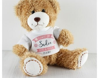 Flower girl gift personalised teddy bear