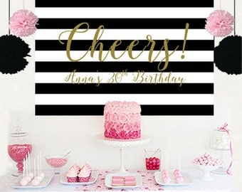 Cheers Personalized Backdrop - Bridal Shower Cake Table Backdrop Birthday- Black and White Stripes Birthday Backdrop, 30th Birthday