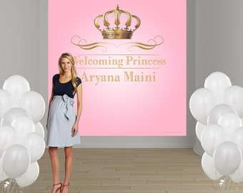 Royal Princess Birthday Party Personalized Photo Backdrop - First Birthday Photo Backdrop- Photo Booth Backdrop, Little Princess Backdrop