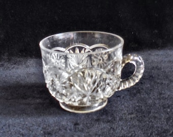 Higbee Pressed Glass Punch Cup in the Feathered Medallion pattern circa 1905