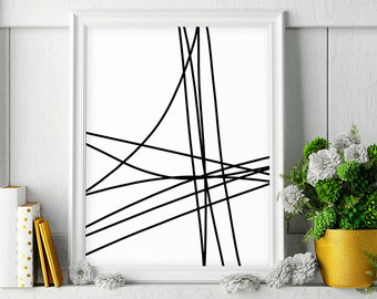 Black and White Art, Abstract Line Art, Printable Men Gift, Minimalist Print, Drawing, Printable Art, Wall Art, Wall Decor, Instant Download