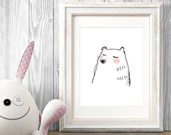 Bear Nursery Decor, Nursery Art, Kids Art, Sketch Art, Printable Art Print, Kids Wall Art, Minimalist Poster, Line Drawing, Digital Download