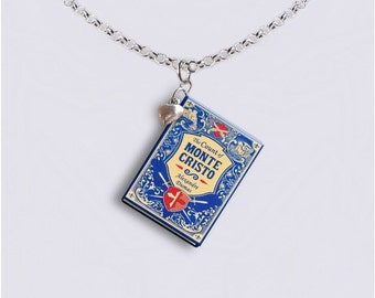 The Count Of Monte Cristo - With Tiny Heart Charm -  Miniature Book Necklace