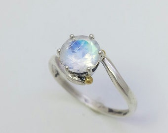 Faceted Moonstone Silver and 18k Gold ring