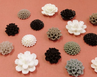 NEW - Resin Flower Cabochon - Black Grey and White mixed lot- QTY 10 pieces