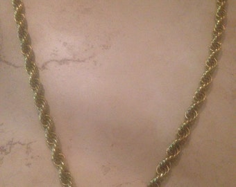Vintage Sarah Coventry Gold Necklace Woven Rope Thick Costume Jewelry