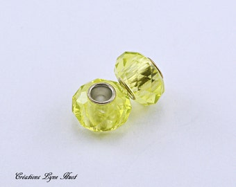 Choose 2 or 5 Pearls of Murano glass faceted charms European style ! Yellow color !