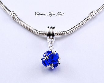 Beautiful Charm glass, ideal for strap assemblies, Blue Color (C-112) European Beads!