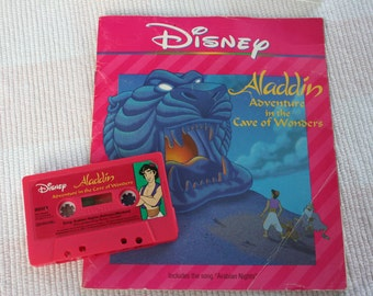 Aladdin - Adventure in the Cave of Wonders , Read Along Book and Cassette Tape Set